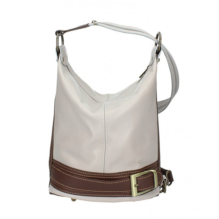 Genuine Leather Shoulderbag/Backpack 1201 gray Made in Italy
