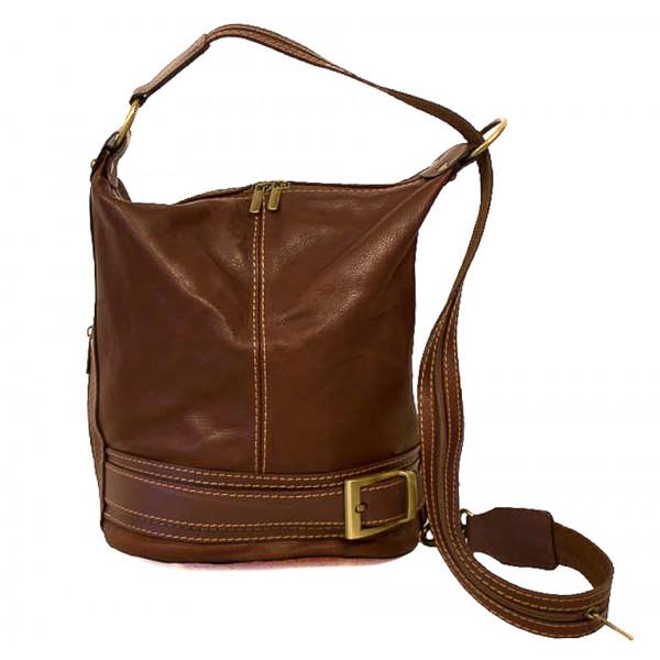 Dámska kožená kabelka/batoh 1201 hnedá Made in Italy