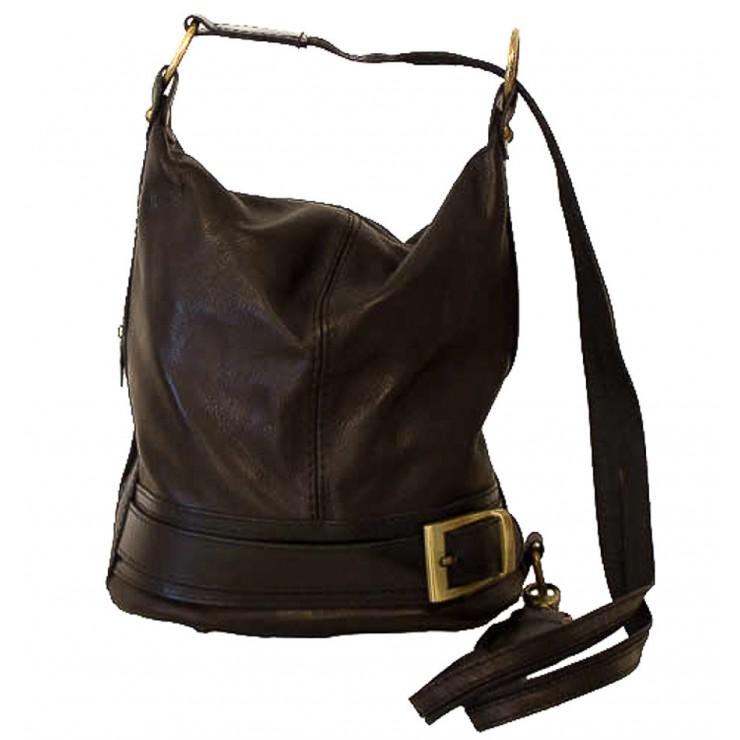 Genuine Leather Shoulderbag/Backpack 1201 black Made in Italy