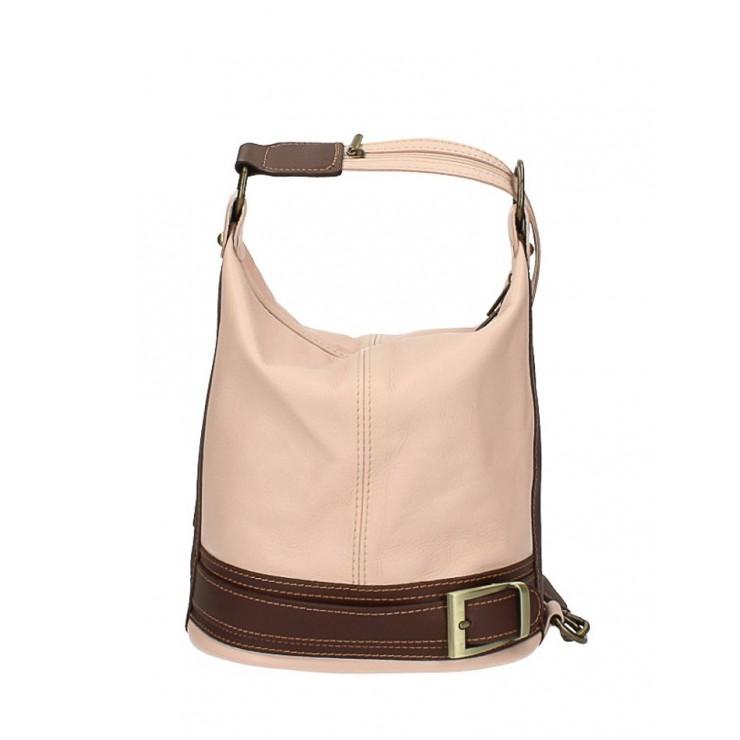 Dámska kožená kabelka/batoh 1201 růžová Made in Italy