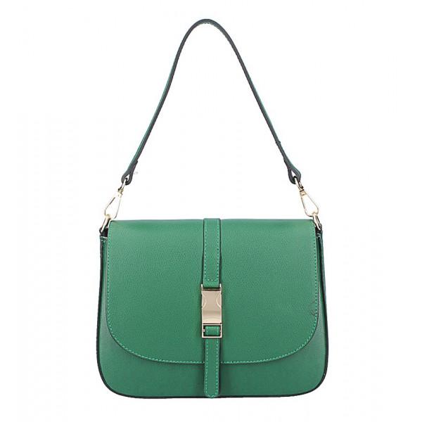 Zelená kožená kabelka na rameno 589