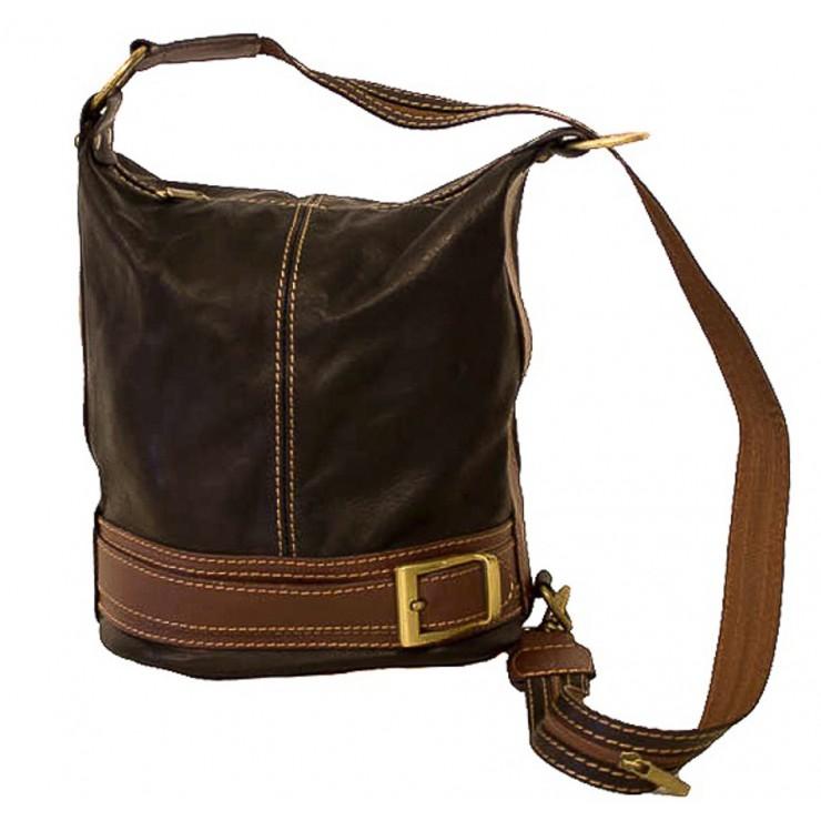 Dámska kožená kabelka/batoh 1201 tmavohnedá Made in Italy