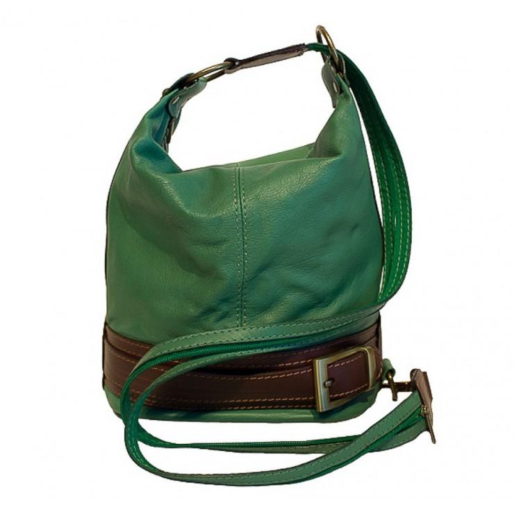 Dámska kožená kabelka/batoh 1201 zelená Made in Italy