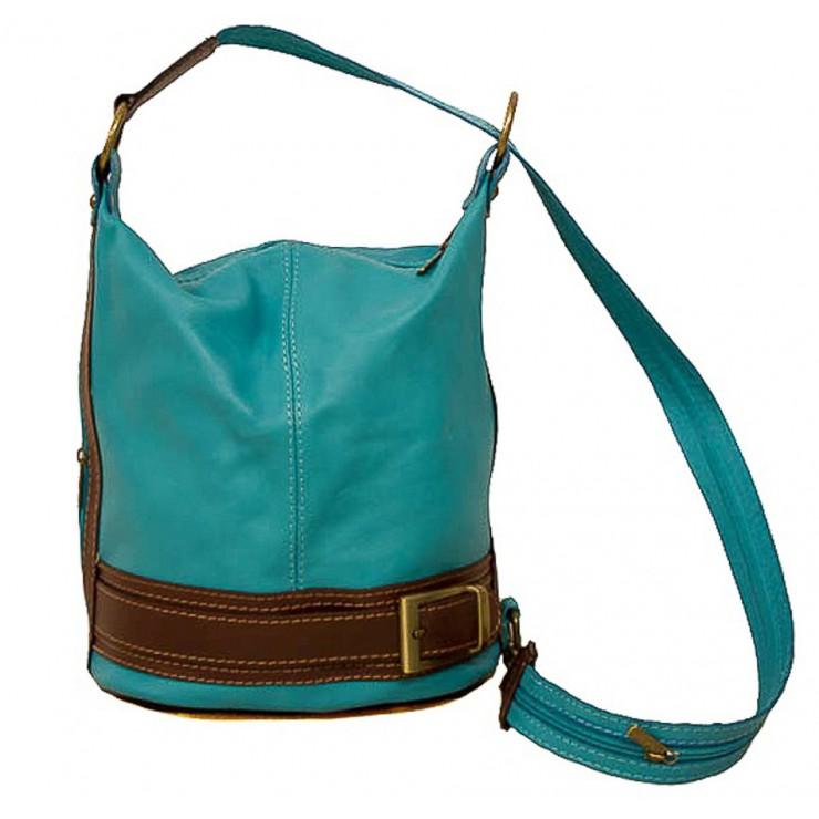 Dámska kožená kabelka/batoh 1201 tyrkysová Made in Italy