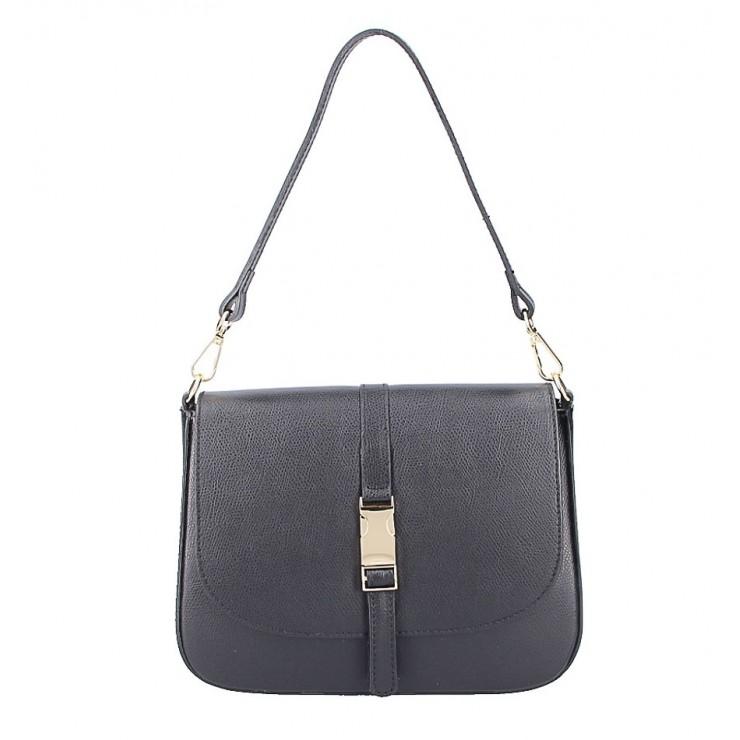 Černá kožená kabelka na rameno 589