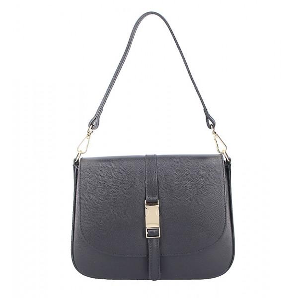 Čierna kožená kabelka na rameno 589 Made in Italy Čierna