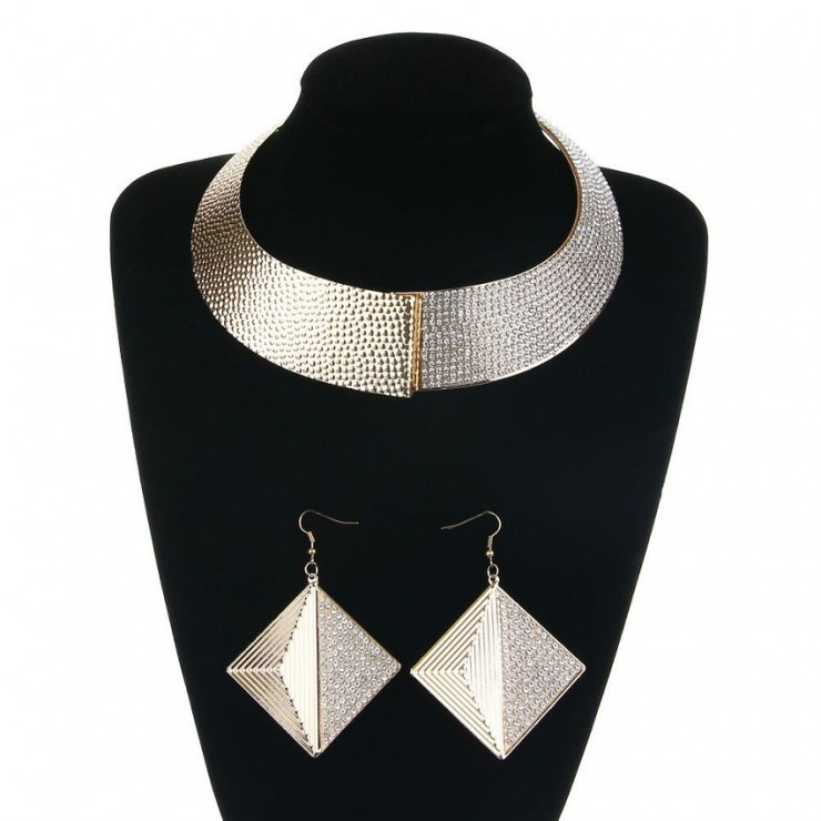 Set necklace + earrings 1196 gold