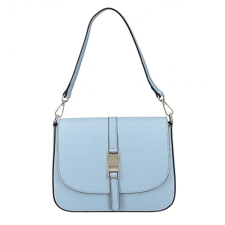 Nebesky modrá kožená kabelka na rameno 589