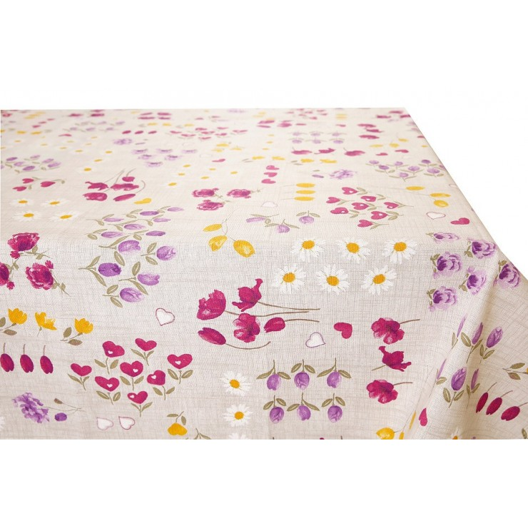 Cotton tablecloth purple flowers Made in Italy