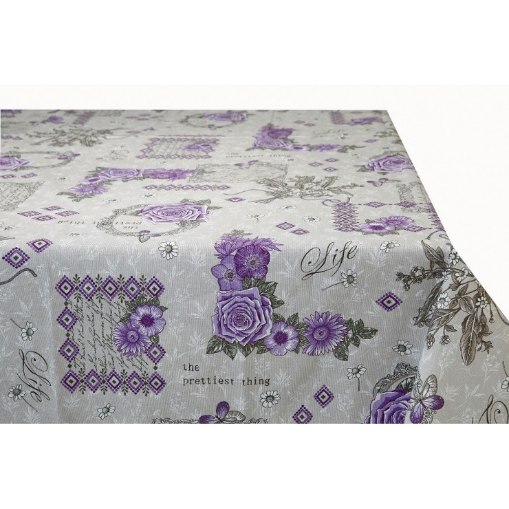 Cotton tablecloth purple roses Made in Italy