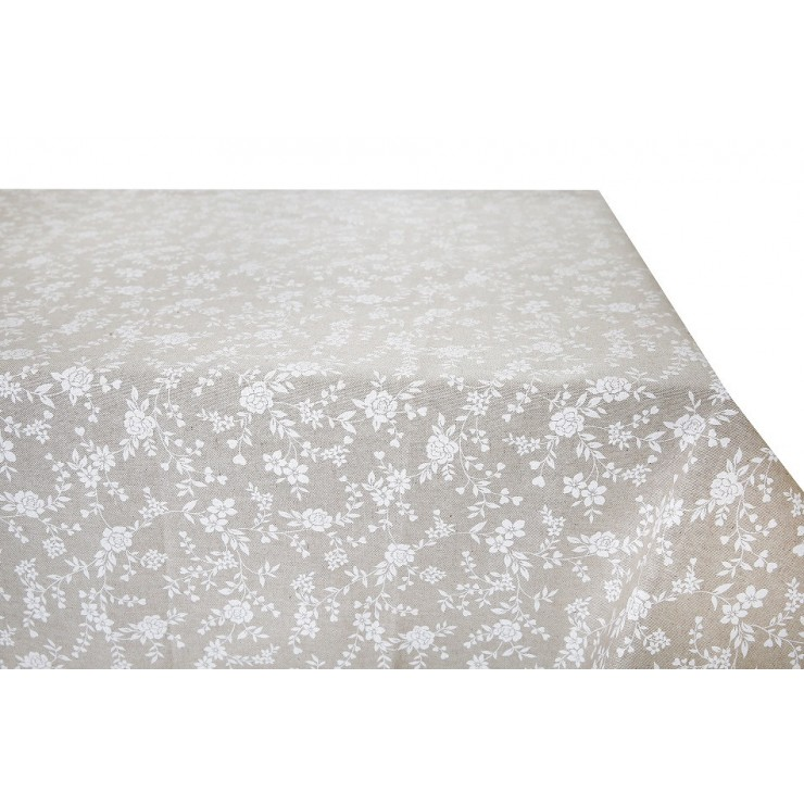 Tablecloth white flowers  Made in Italy