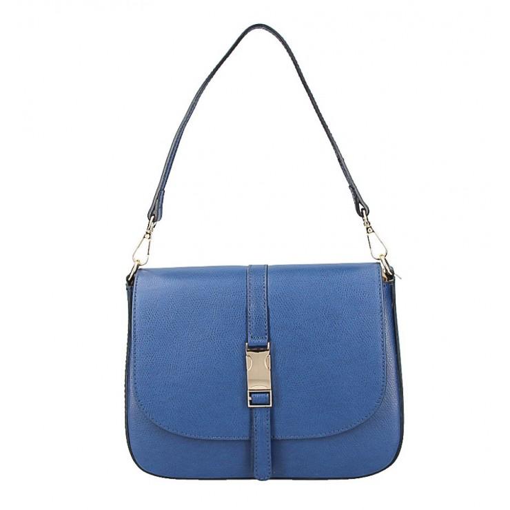 Modrá kožená kabelka na rameno 589