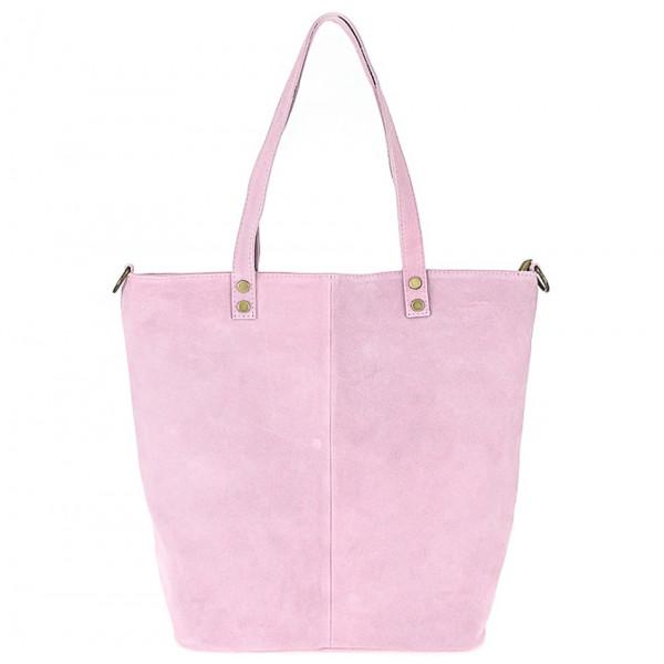 Ružová kožená kabelka na rameno v úprave semiš 768