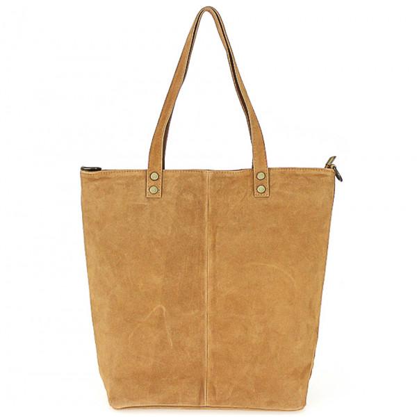 Koňaková kožená kabelka na rameno v úprave semiš 768