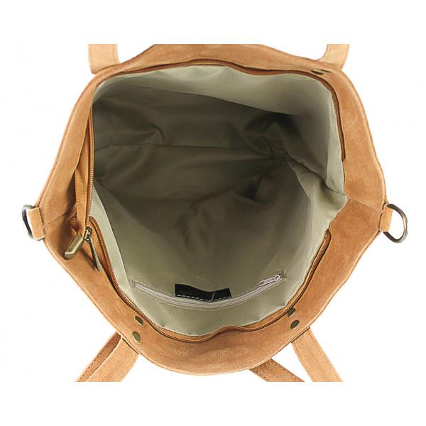 Koňaková kožená kabelka na rameno v úprave semiš 768 MADE IN ITALY