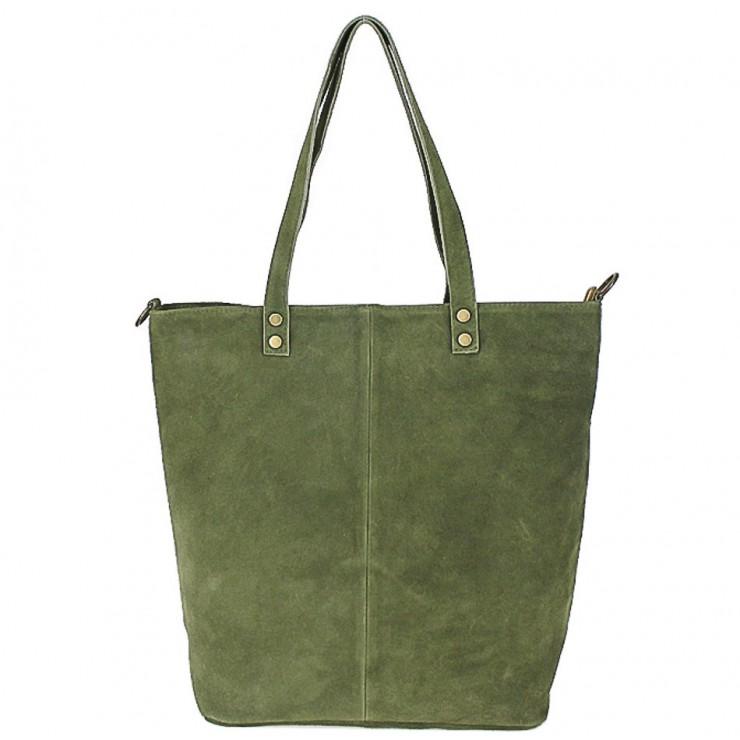 Genuine Leather Maxi Bag 768 military green