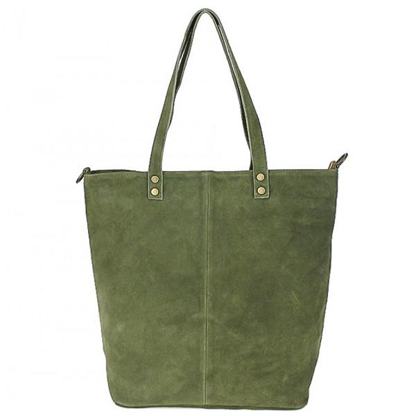 Vojensky zelená kožená kabelka na rameno v úprave semiš 768
