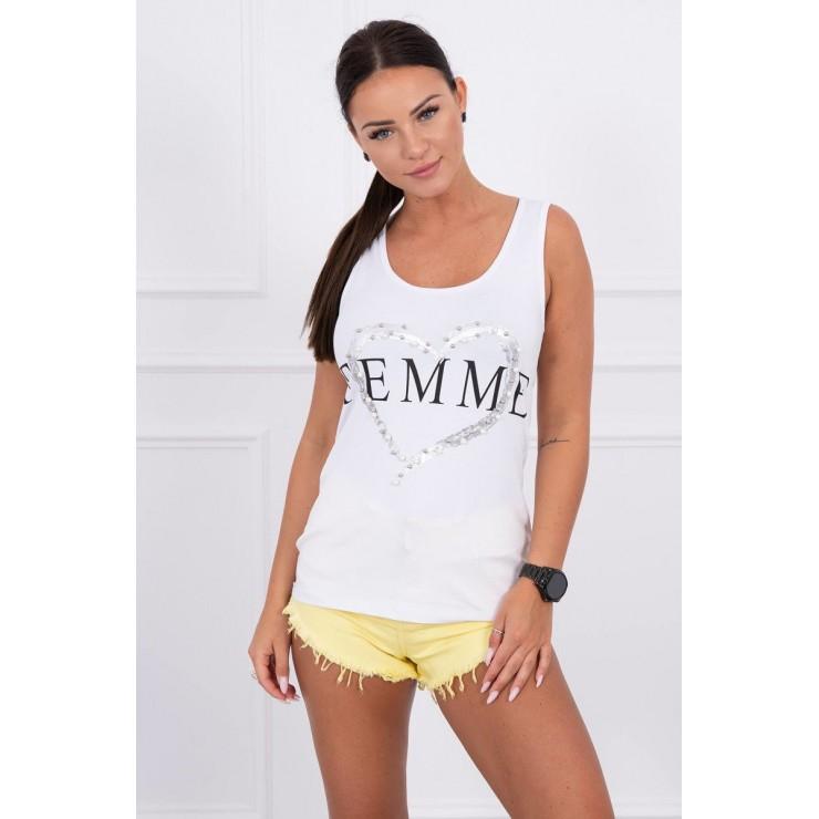 Damen-Träger Shirt weiß Femme