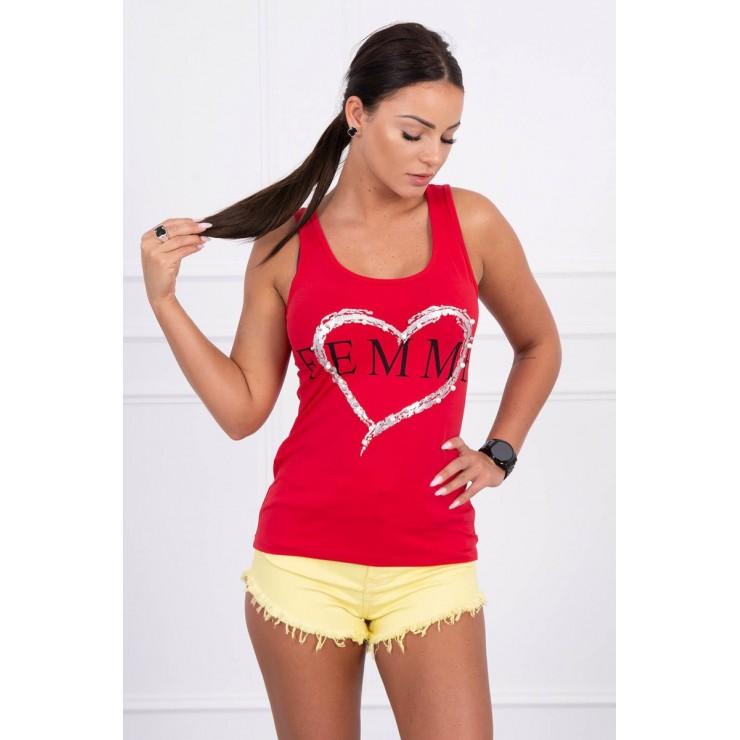 Damen-Träger Shirt rot Femme