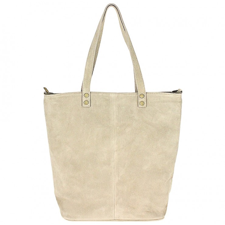 Genuine Leather Maxi Bag 768 taupe