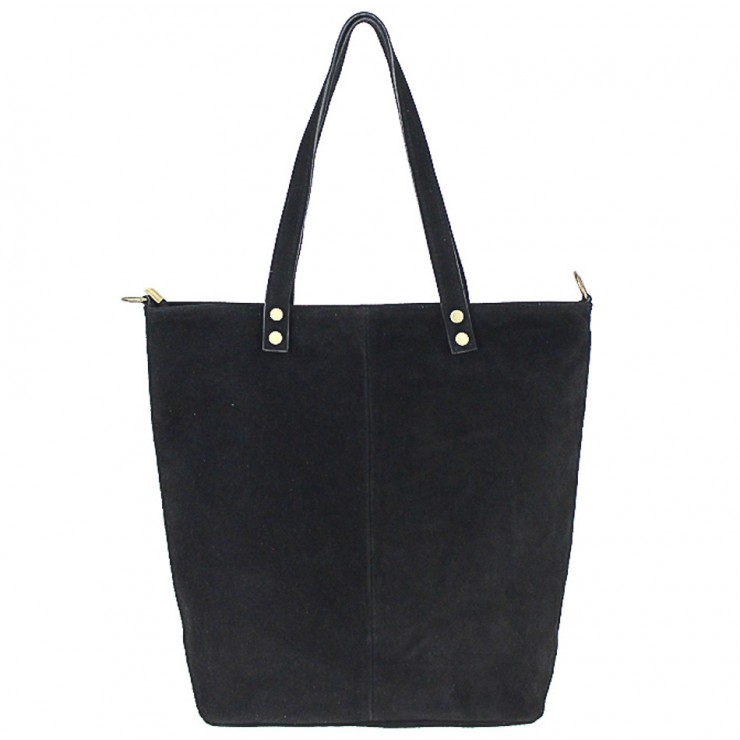 Genuine Leather Maxi Bag 768 black