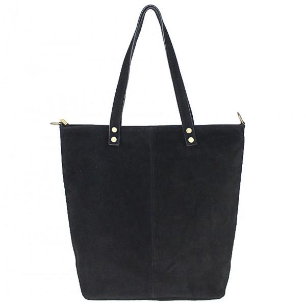 Čierna kožená kabelka na rameno v úprave semiš 768