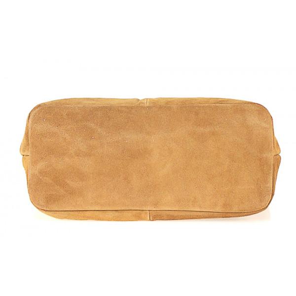 Čierna kožená kabelka na rameno v úprave semiš 768 MADE IN ITALY