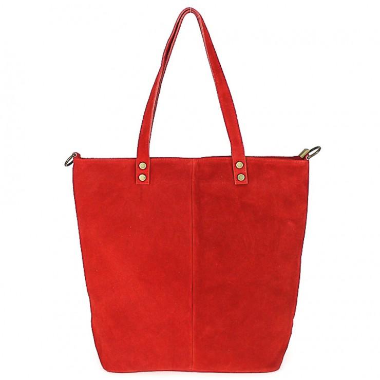 Červená kožená kabelka na rameno v úprave semiš 768