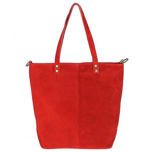 Červená kožená kabelka na rameno v úprave semiš 768 MADE IN ITALY