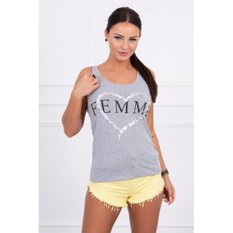 Damen-Träger Shirt grau Femme