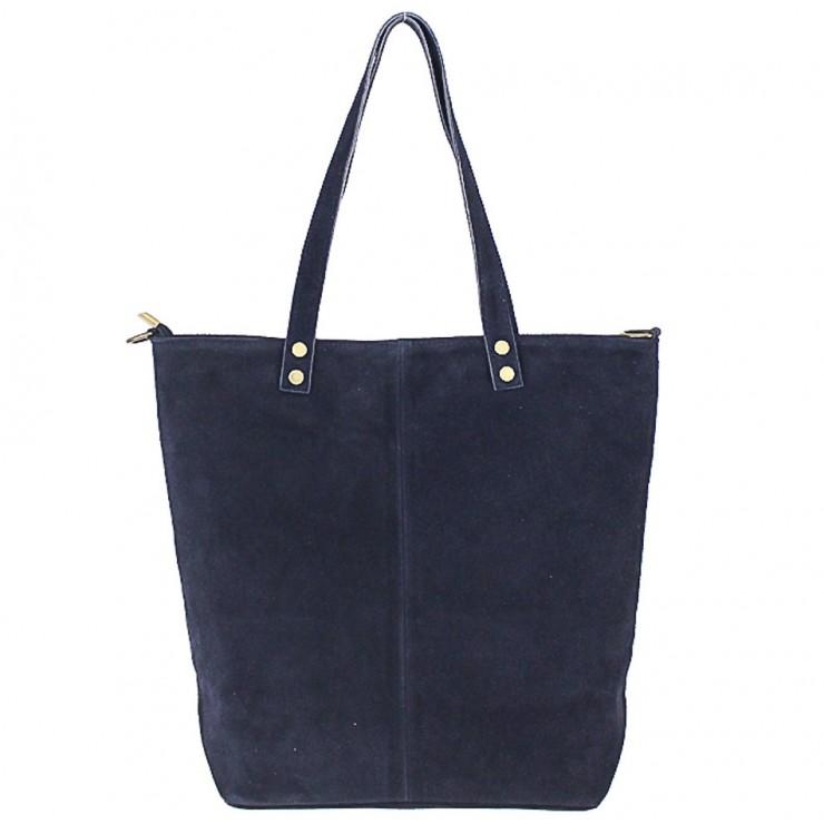 Modrá kožená kabelka na rameno v úprave semiš 768