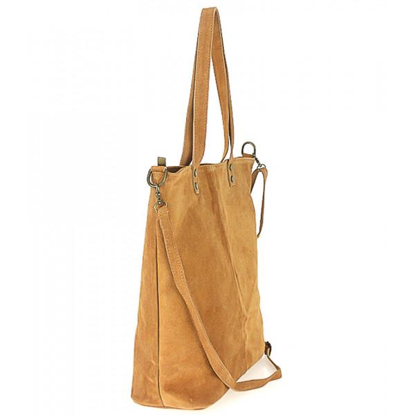 Modrá kožená kabelka na rameno v úprave semiš 768 MADE IN ITALY