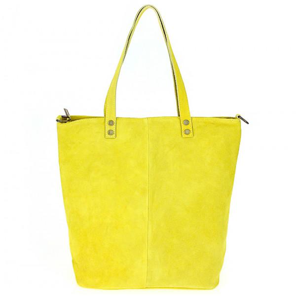 Žltá kožená kabelka na rameno v úprave semiš 768
