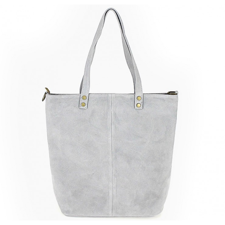 Genuine Leather Maxi Bag 768 gray