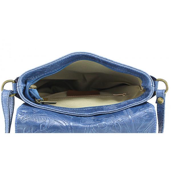 Šedohnedá kožená kabelka na rameno 656 MADE IN ITALY Šedohnedá