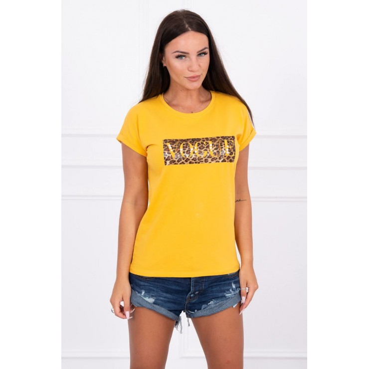 Women T-shirt VOGUE mustard