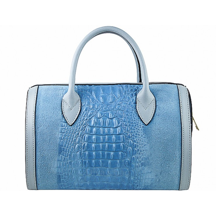 Leather handbag crocodile stamp 660 light blue