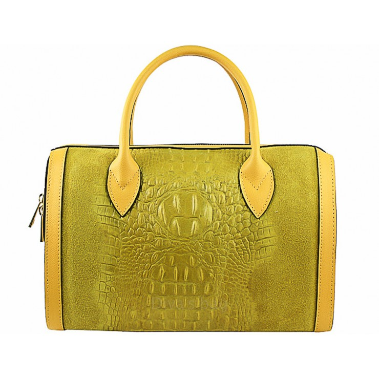 Leather handbag crocodile stamp 660 yellow