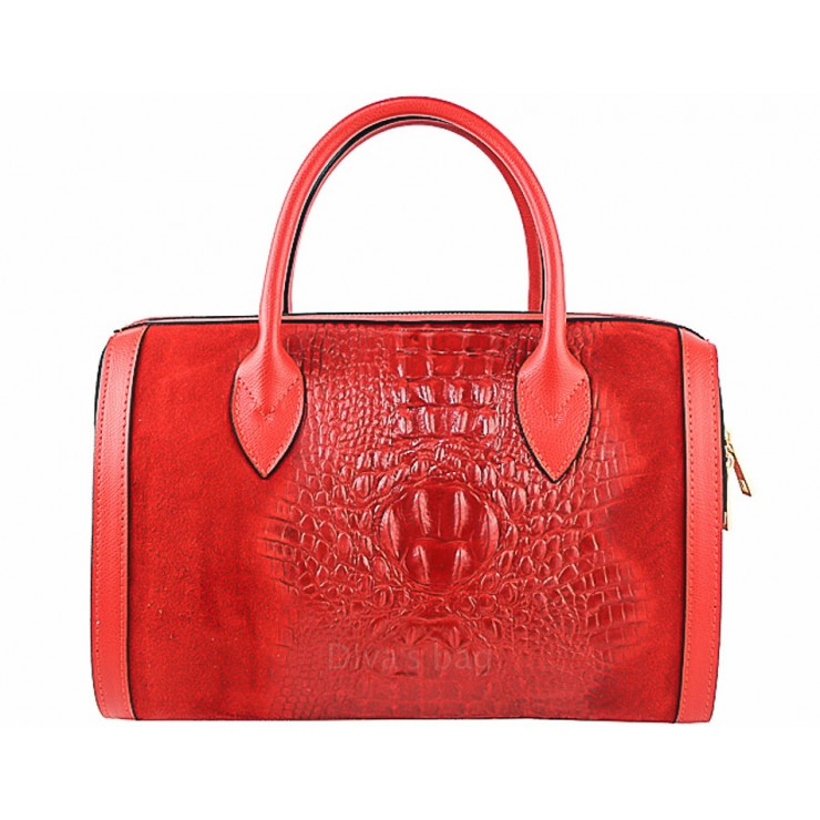 Leather handbag crocodile stamp 660 red