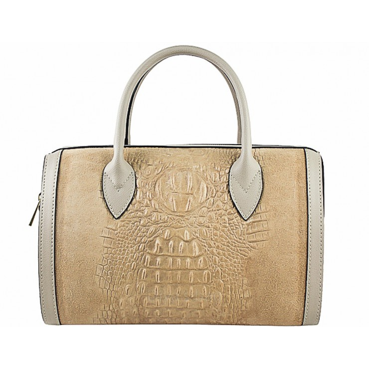 Leather handbag crocodile stamp 660 taupe