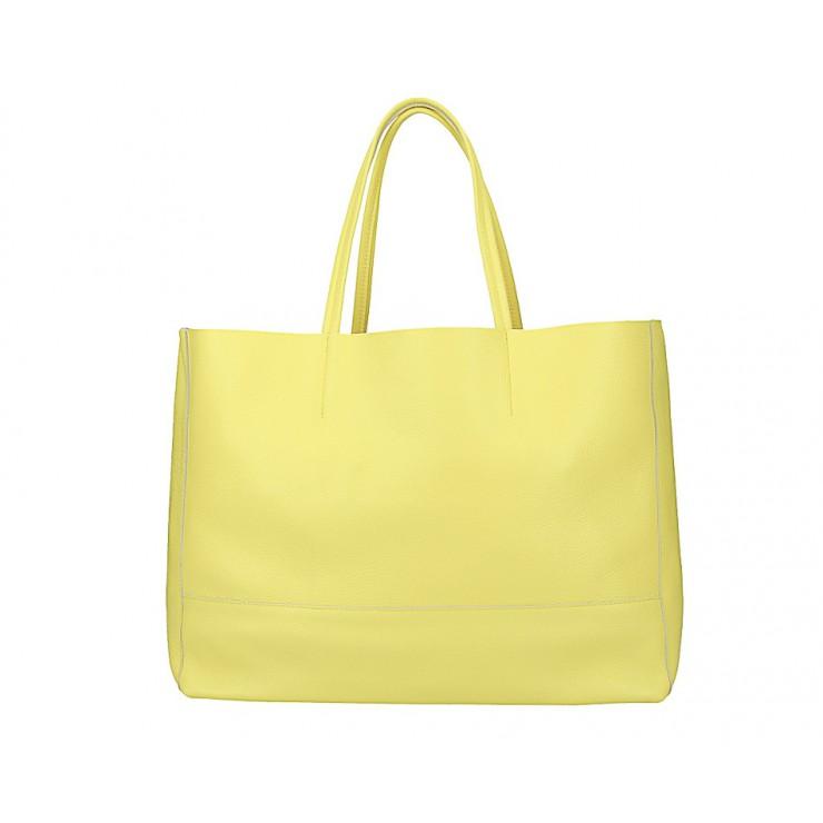 Citrónovo žltá kožená shopper kabelka 509
