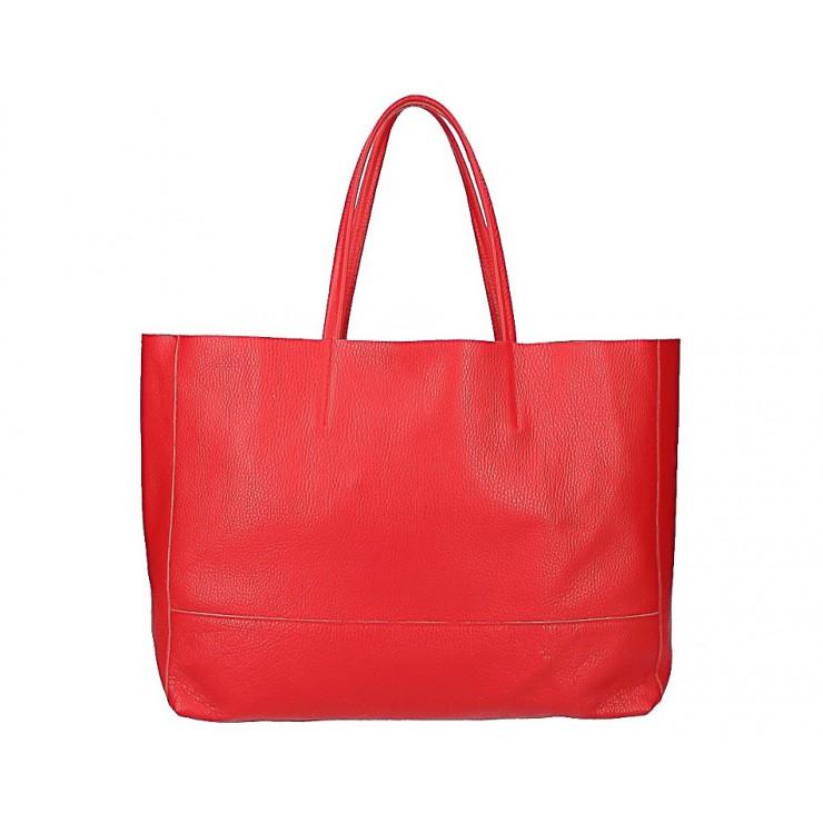 Červená kožená shopper kabelka 5318