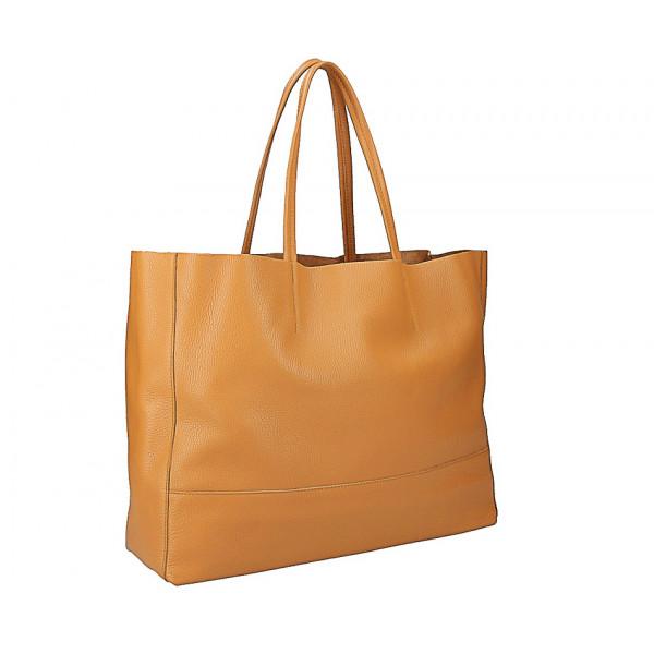 Lososová kožená shopper kabelka 509 Korálová