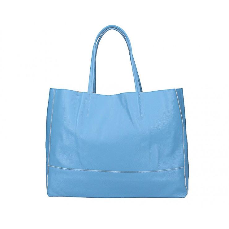 Nebesky modrá kožená shopper kabelka 5318