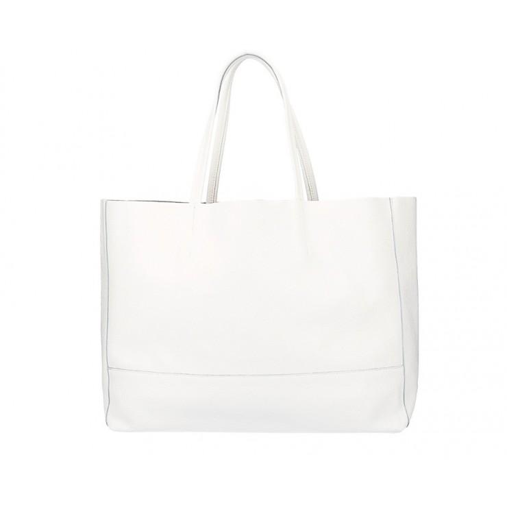 Biela kožená shopper kabelka 5318
