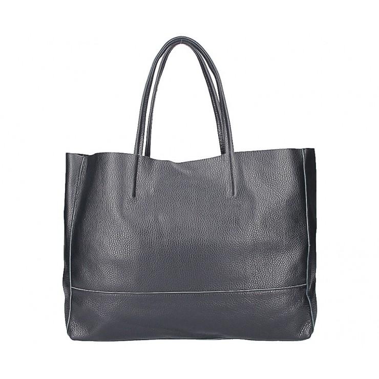 Čierna kožená shopper kabelka 5318