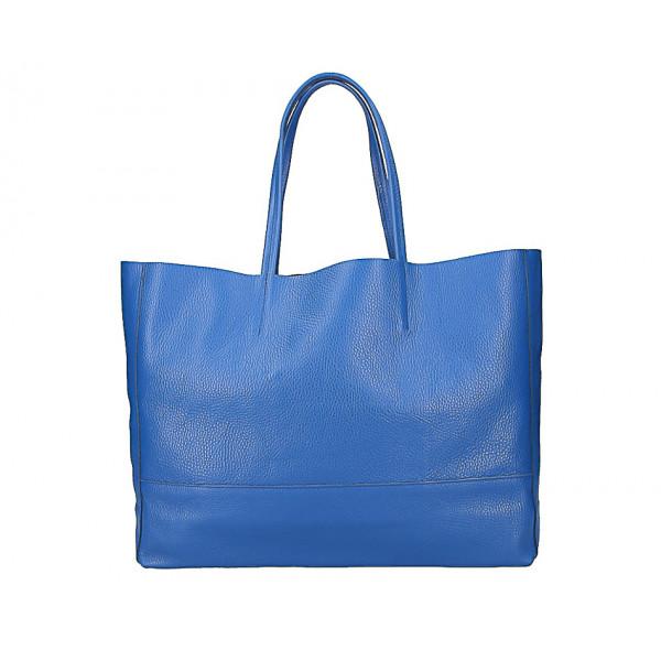 Azurovo modrá kožená shopper kabelka 5318