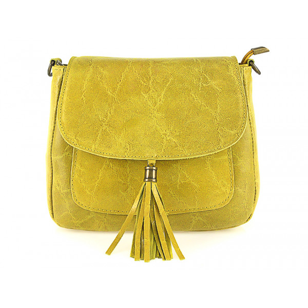 Žltá kožená kabelka  na rameno so strapčekom 700