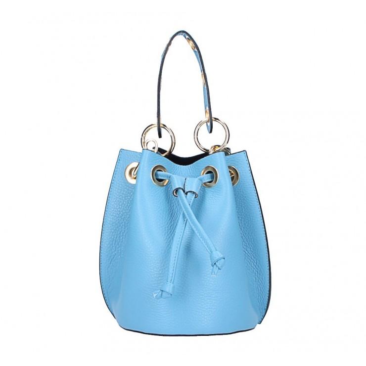 Nebesky modrá vaková kožená kabelka 5319