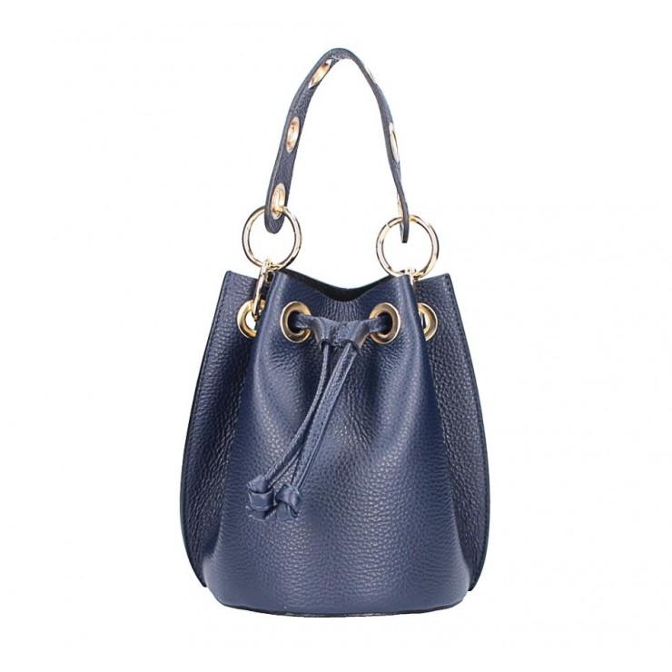 Genuine leather bucket bag 363 dark blue